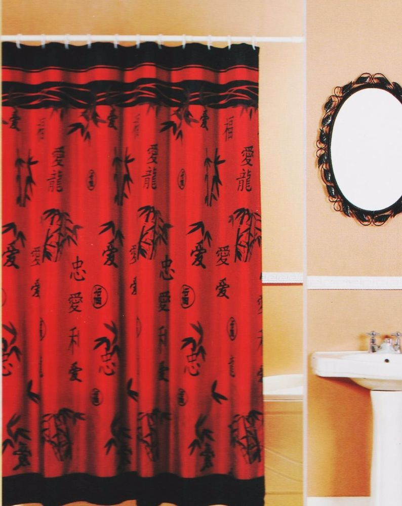 Asian Bamboo Oriental Red Black Fabric Shower Curtain Popular Bath 70x72  115882 PopularBath