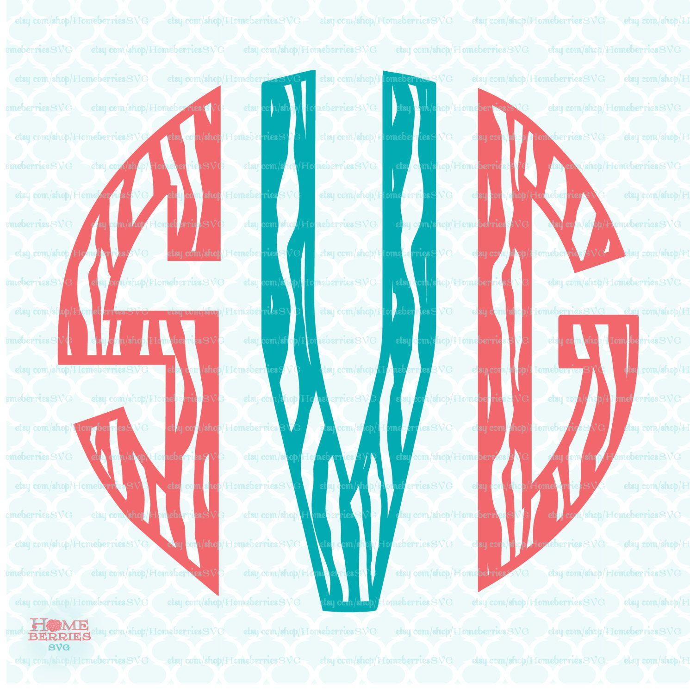 Zebra Circle Monogram Font Svg Initials Svg Alphabet Svg