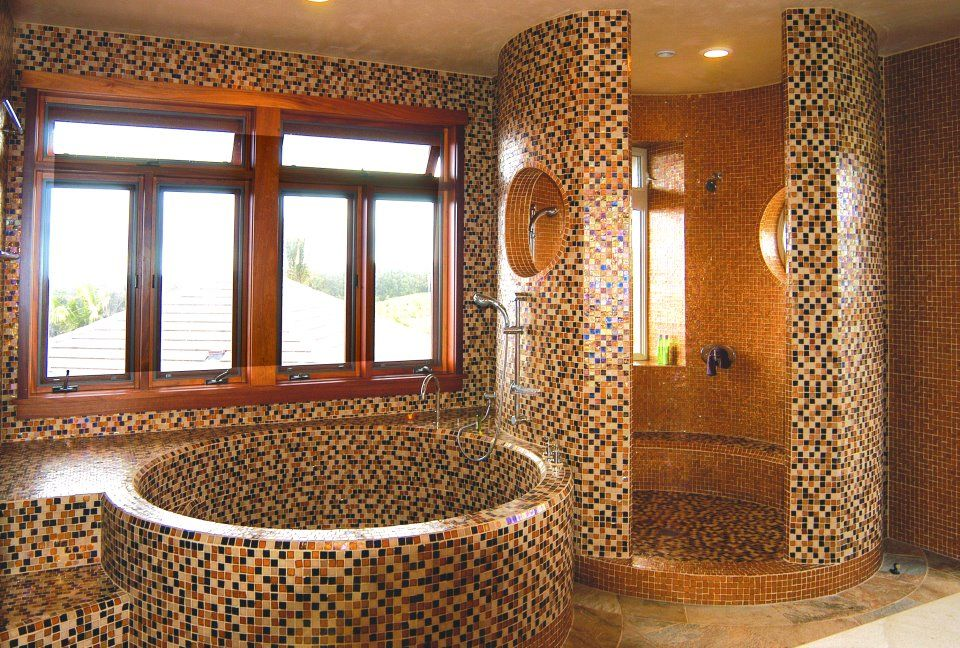 Oceanside Glass Tile Bathroom With Shower