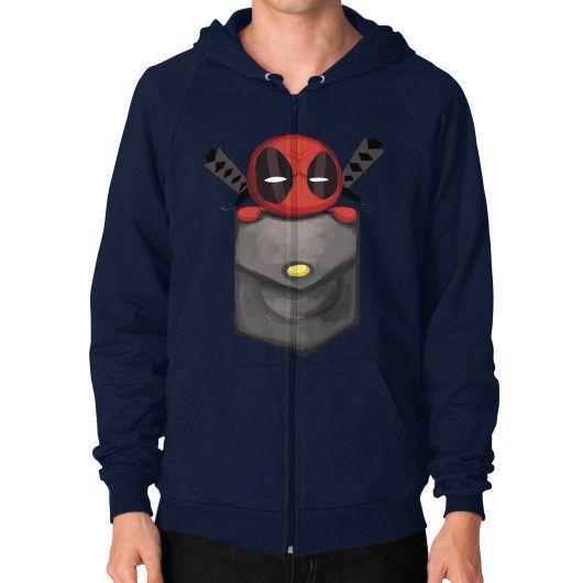 Deadpool Pocket Zip Hoodie (on man)