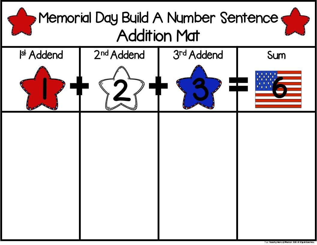 Memorial Day Build 3 Addend Addition Amp Subtraction Number