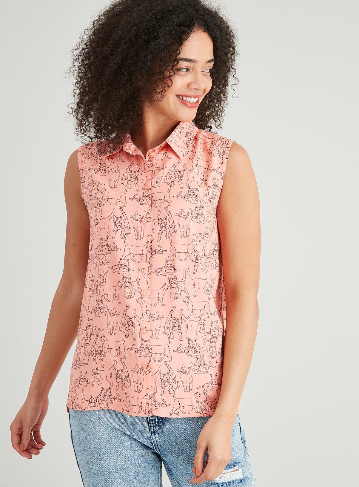 Women's Pink Cat Print Sleeveless Shirt in 20   Plus size ...