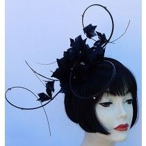 Black Feather Swirl Fascinator