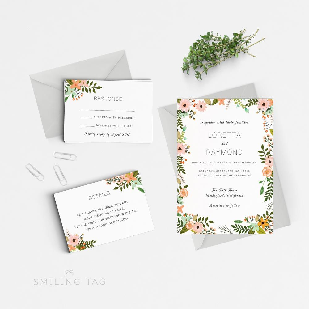 INSTANT DOWNLOAD Printable Wedding Invitation Template - Peac