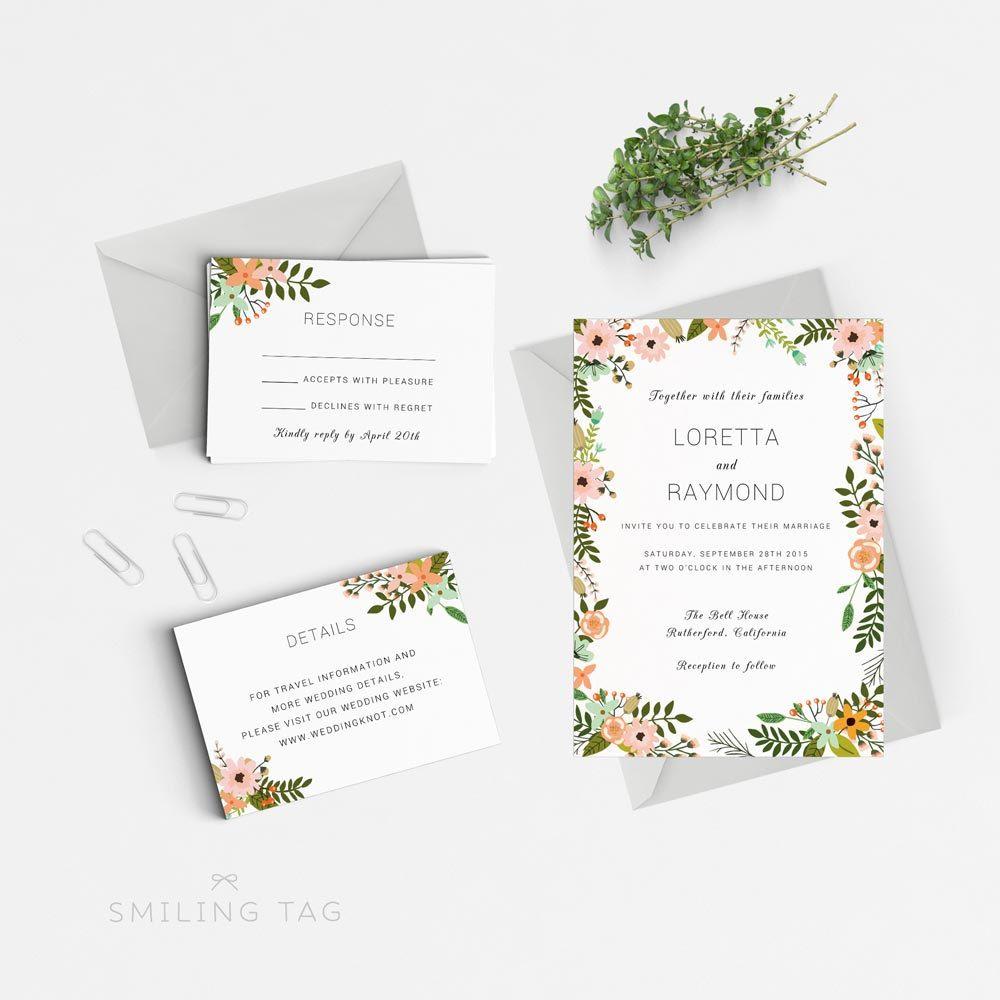 Instant Download Printable Wedding Invitation Template Peach Or Wedding Invitations Printable Templates Wedding Invitation Size Printable Wedding Invitations