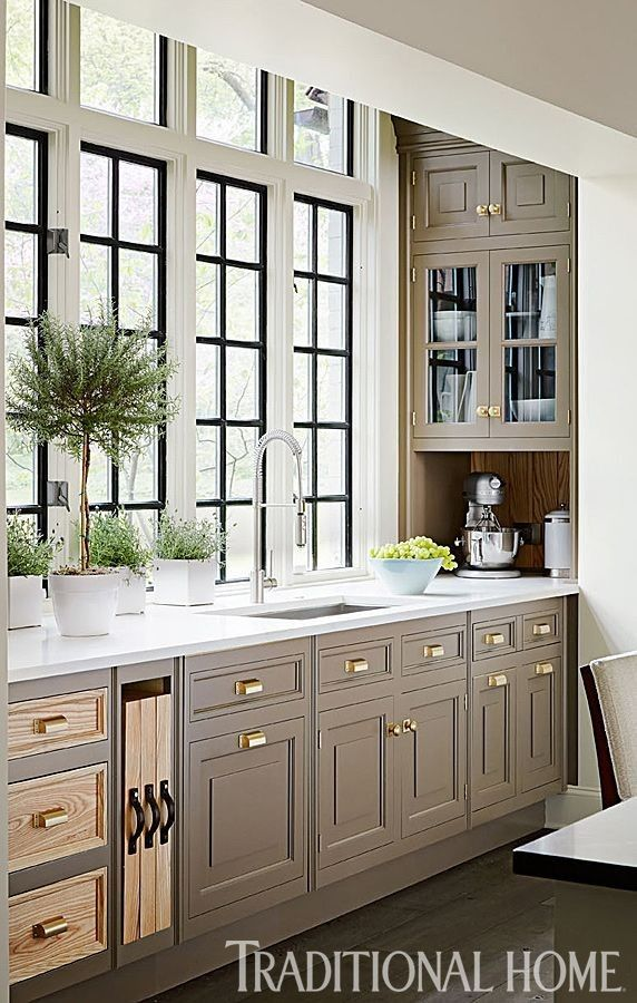 Windows  greenery, use of alcove space, architecture Cabinets are