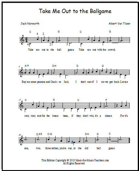 Christmas Canon Lyrics Sheet Music: Take Me Out To The Ballgame Piano Duet For Beginners