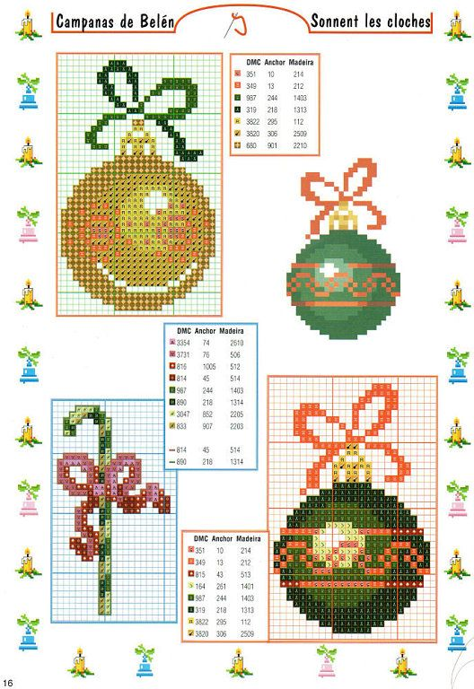 Solo Patrones Punto Cruz | Counted cross stitch ornaments ...