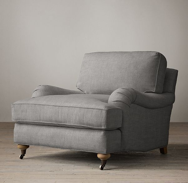 Beautiful Option: RH English Roll Arm Upholstered Chair In Belgian Linen Fog