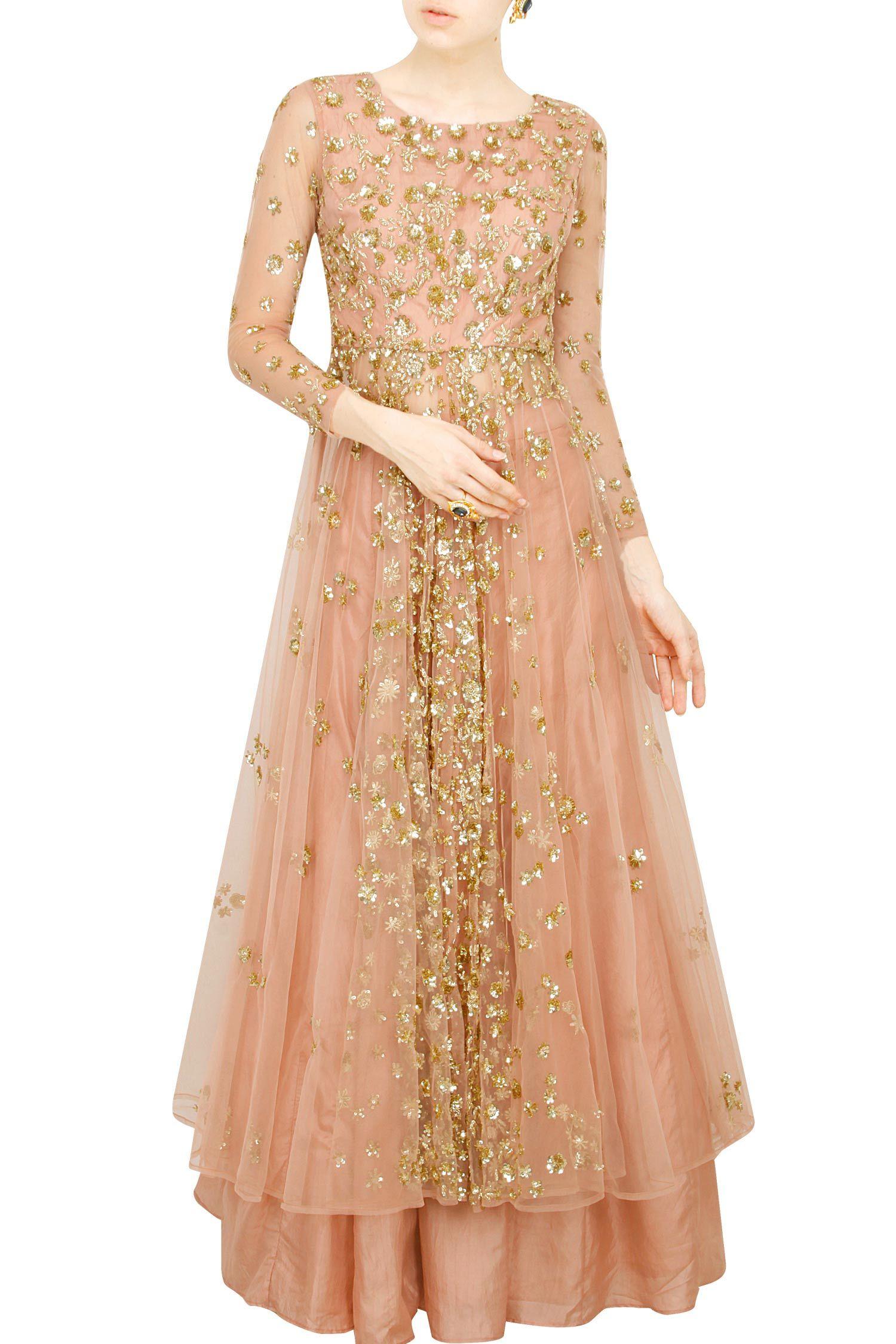 fc77fc88f54 Astha Narang presents Pink gold flare jacket with skirt