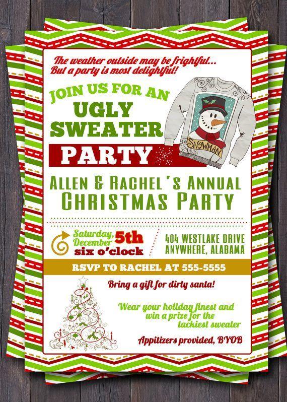 Christmas Teenage Party Ideas Part - 16: Teen Christmas Party Invitation Dirty Santa | Sweater, Tacky Sweater, Christmas  Party, Holiday