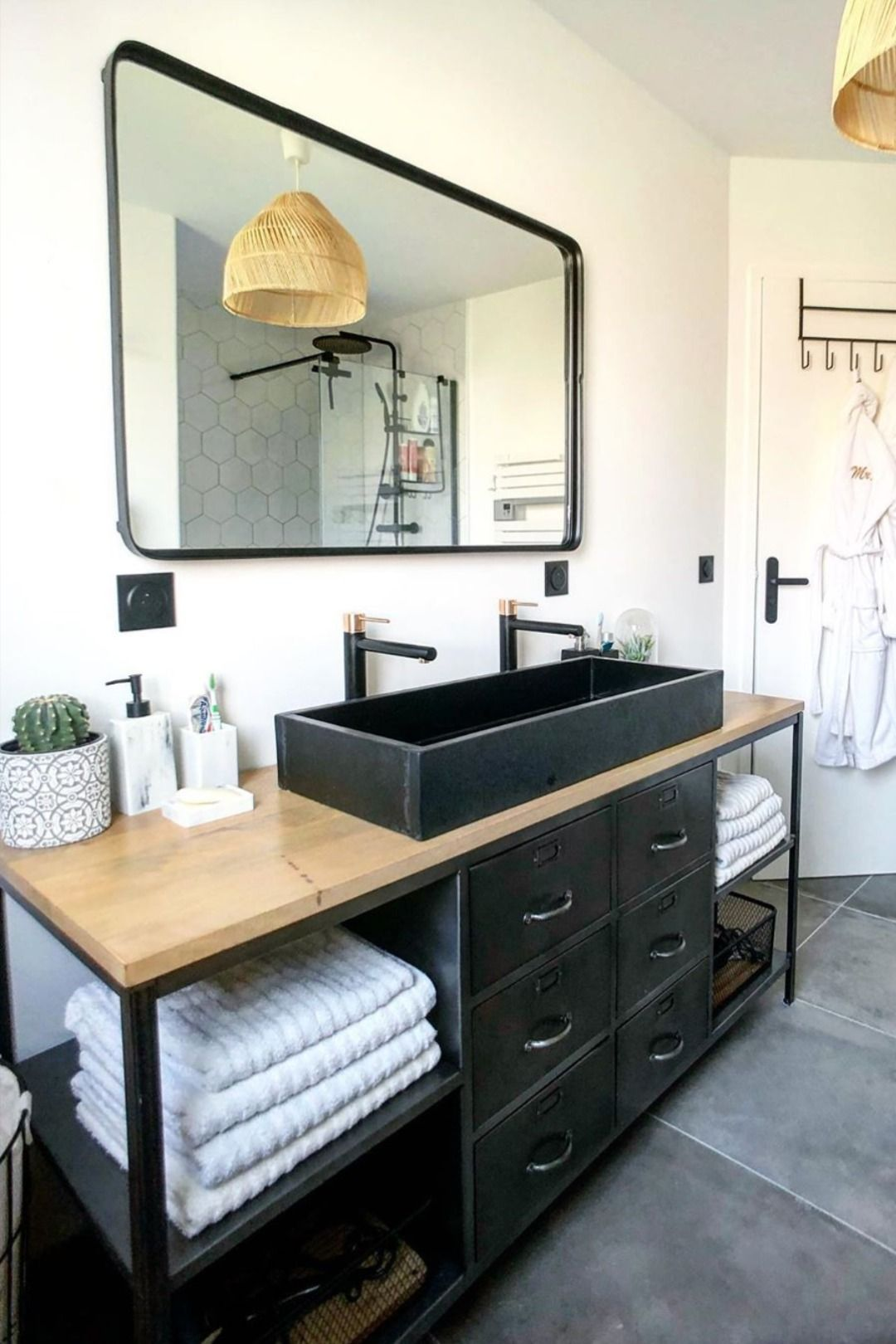 Meuble salle de bain industriel   Idée salle de bain, Meubles ...
