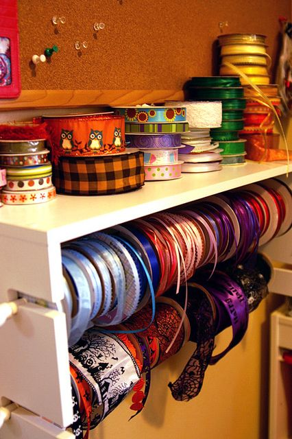 Perfect sense ribbon rack. Used many in my day but this one is really great concept and has storage top shelf