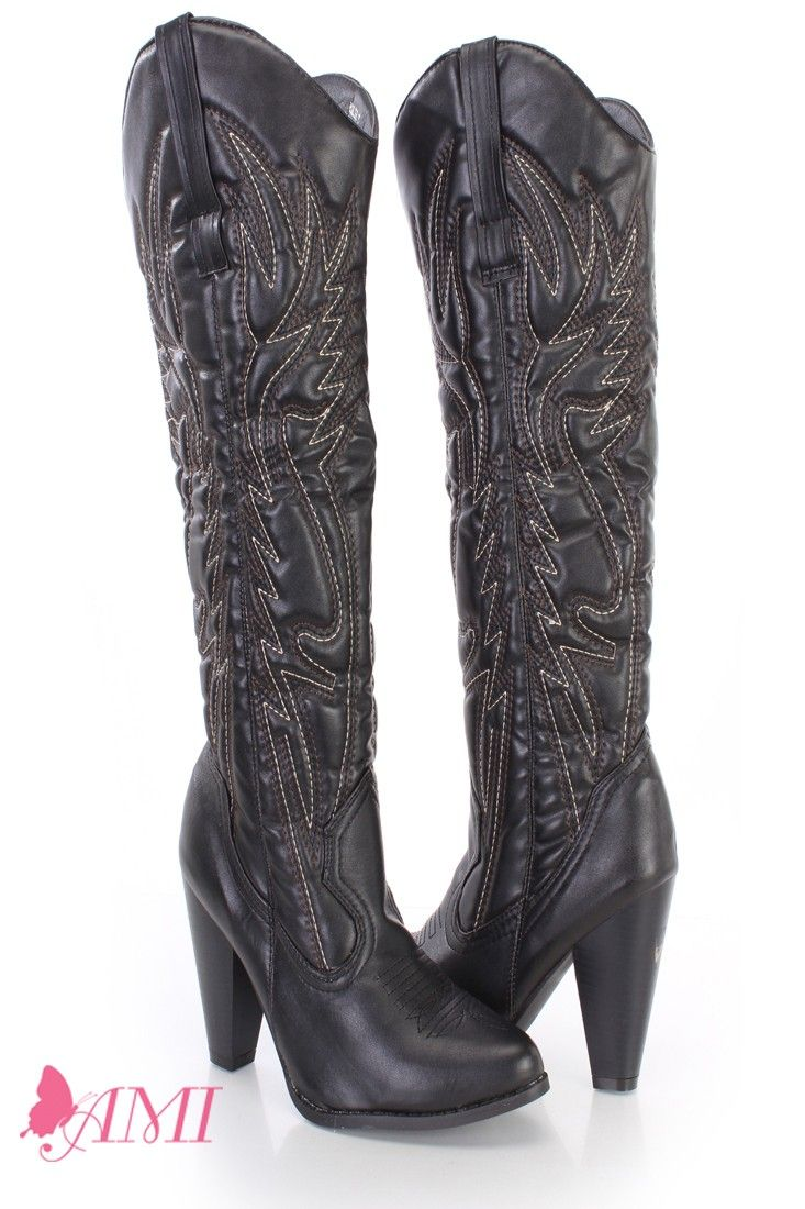 a7112308ea These super sexy and very stylish cowboy boots feature a faux leather upper  with a stitched