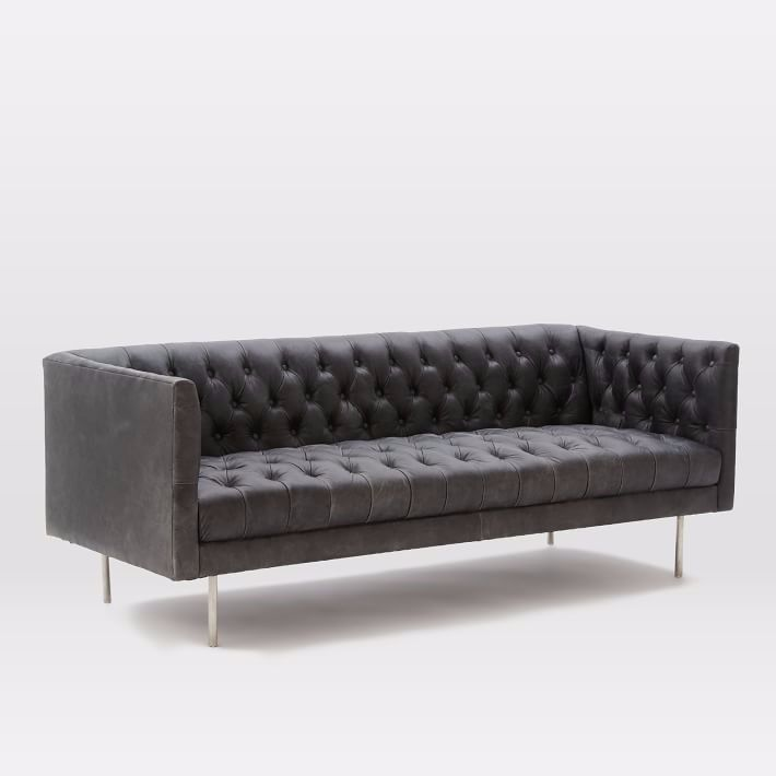 Antique Chesterfield High Back Tufted Sofa Vintage Living ...