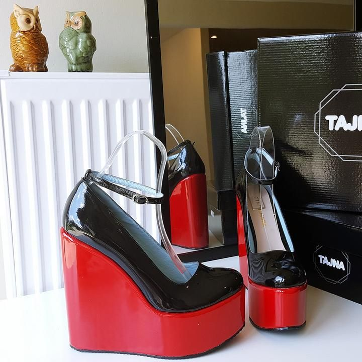 b1332fb6af2b Red Black Patent Leather Ankle Strap Wedge Shoes - Tajna Club