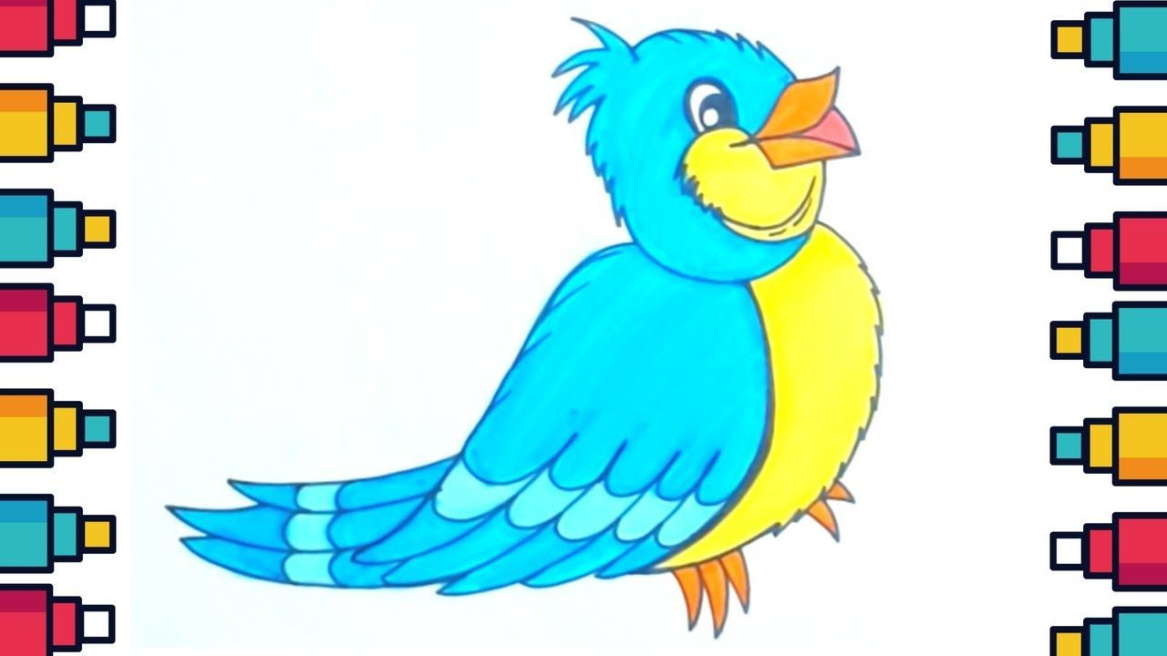 How To Draw Bird For Kids Step By Step Easy Drawing Bird