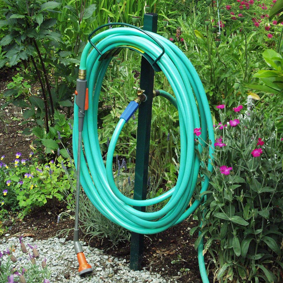 Free Standing Hose Hanger with Faucet | Faucet, Hanger and Hose storage