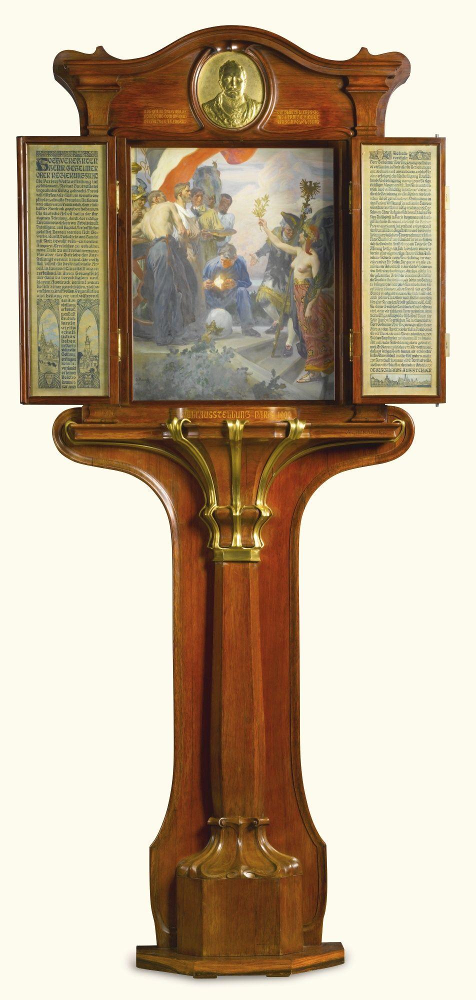 The Weltausstellungs Schrank A German Art Nouveau Gilt Bronze And Brass Mounted Rosewood Commemorative Tryptic Berlin With Images Art Nouveau German Art Antique Wall Clock