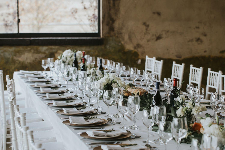 Minimalist Modern Wedding Simple Elegant Wedding Reception With White Table Cloths And S Contemporary Wedding Venues Elegant Wedding Reception Farm Wedding