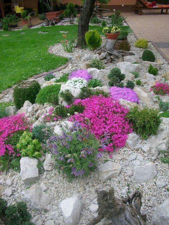 gorgeous front yard rock garden