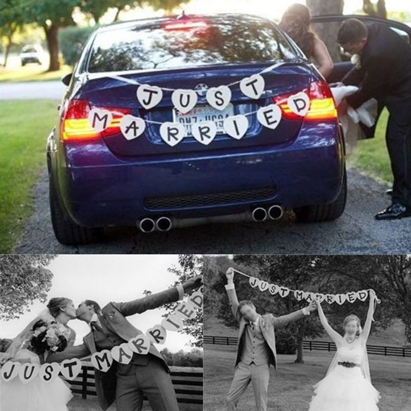 Just Married Wedding Car Cling Decal Sticker Window Banner Decoration Unbranded