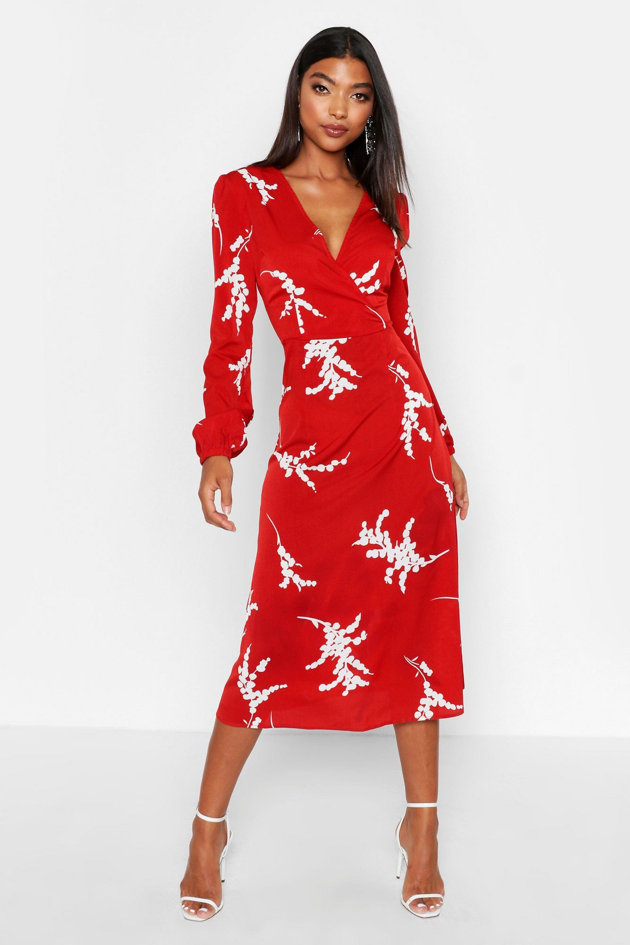 Tall Floral Print Wrap Midi Dress Boohoo Red Midi Dress Bodycon Fashion Wrap Midi Dress [ 3273 x 2181 Pixel ]