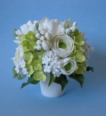 Sugar Vase Cake Topper With Peonies Hydrangea Ranunculus And