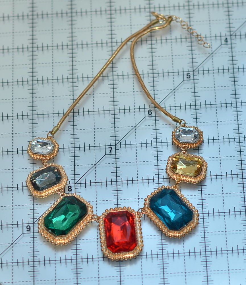 vintage large faceted multicolor rhinestone necklace #Unbranded #Chain