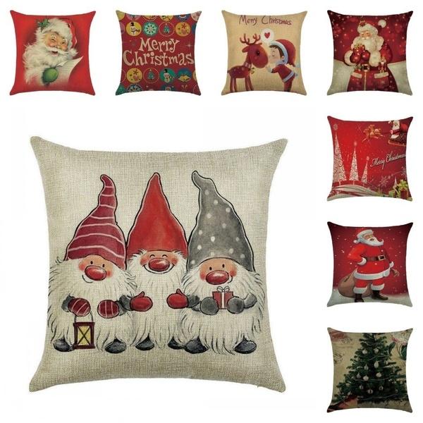 """18/"""" Christmas Pillow Case Cotton Linen Sofa Car Throw Cushion Cover Home Decor"""