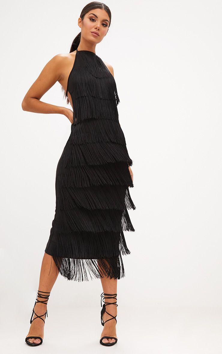 2bba10eea Black Tassel Halterneck Midi Dress | DIY Projects | Dresses, Midi ...