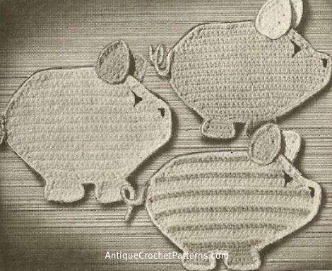 Three Little Pigs Potholders Pattern Free Crochet Potholder Pattern