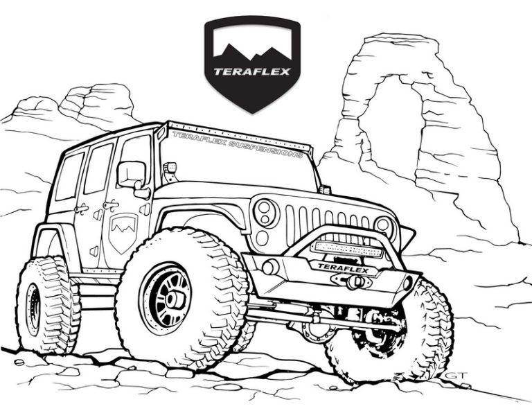 Best Jeep Teraflex Coloring Page Jeep Drawing Jeep Art Monster Truck Coloring Pages