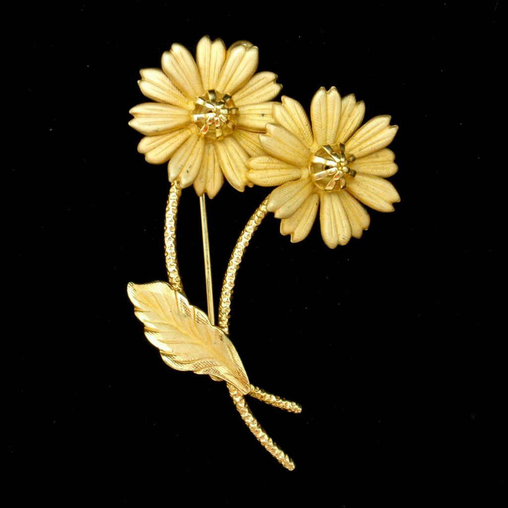 Double daisy flower pin brooch vintage izmirmasajfo