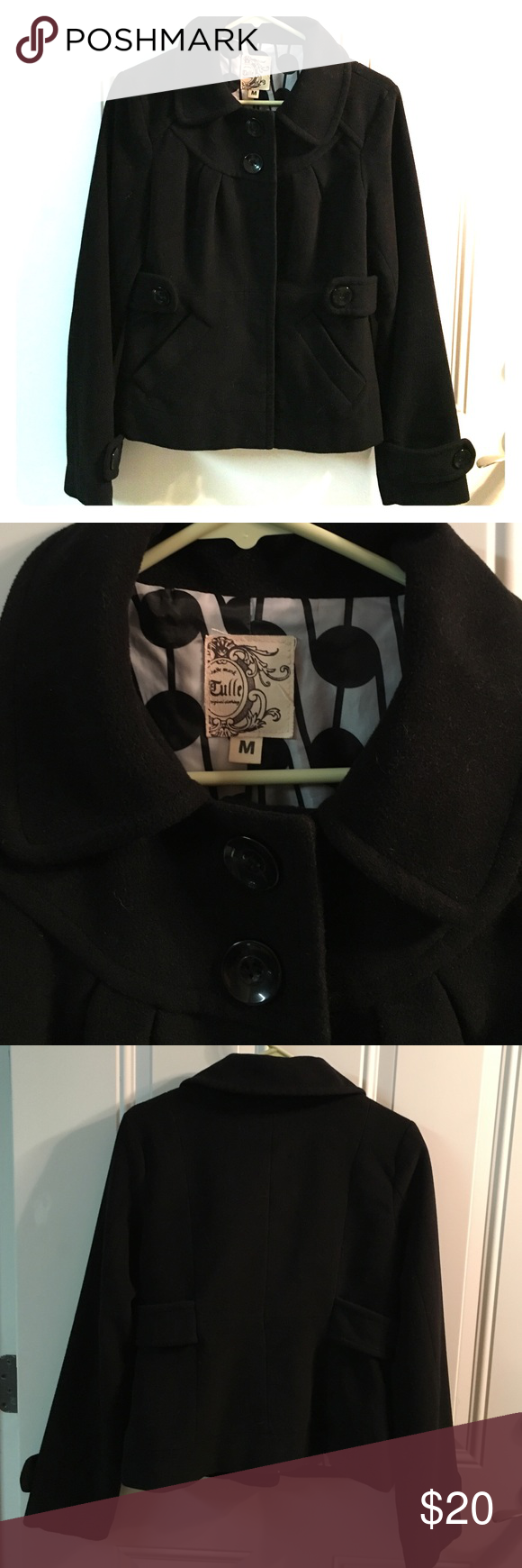 Hello COLD weather! Black short lined winter jacket. 2 front pockets. EUC. Tulle Jackets & Coats