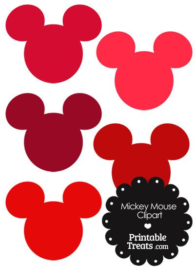 Mickey Mouse Head Clipart In Shades Of Red From Printabletreats Com Mickey Mouse Head Mickey Mouse Mickey