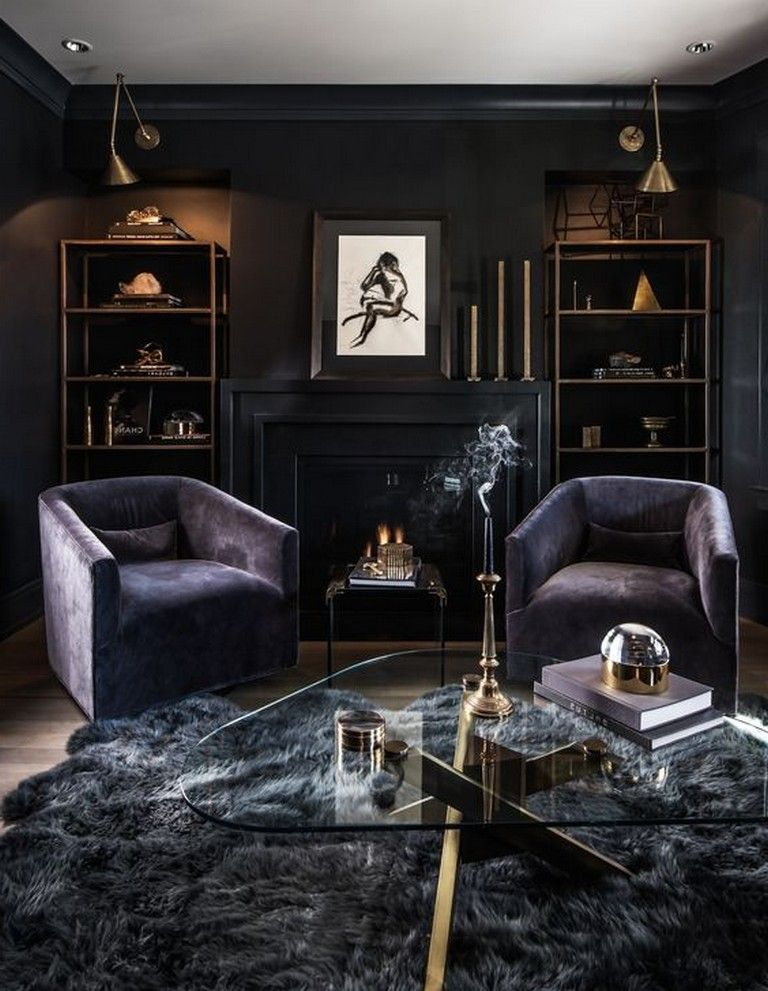 25 Lovely Living Room Decor Ideas With Black Walls Livingroom Livingroomideas Livingroomdecor Masculine Living Rooms Dark Living Rooms Gothic Living Rooms