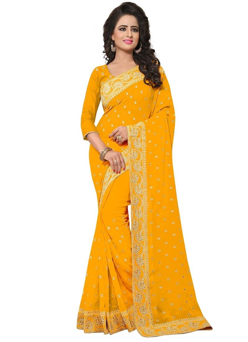 cb70c75d71aff Shoppingover ethnic Womens Saree- Blouse in Georgette Fabric-Yellow Color.  Find this Pin and more on Buy Latest designer sarees online ...
