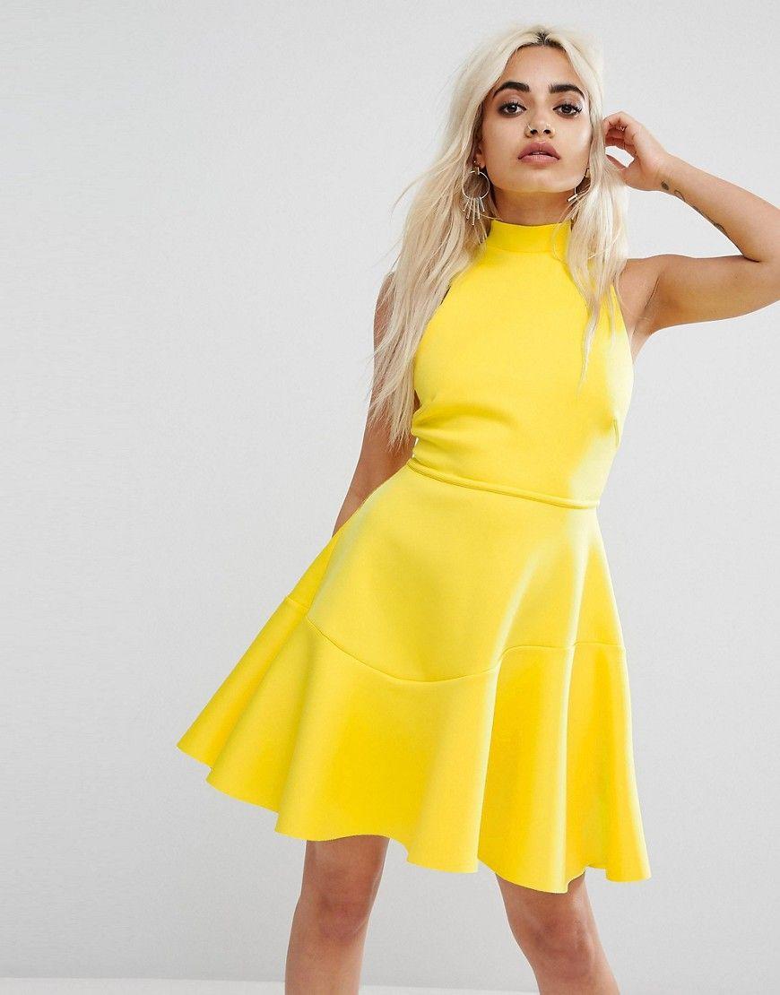 49fc811186 ASOS PETITE Lace Up Back Skater Mini Dress - Blue
