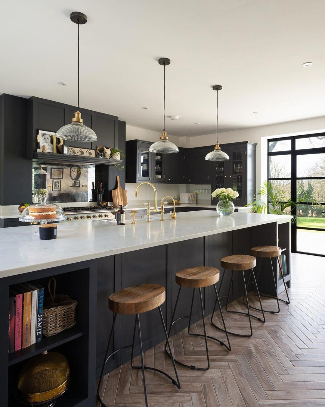 This Large Kitchen Island Can Accommodate Up To Four Bar Stools An Ideal Spot For Large Kitchen Island Open Plan Kitchen Dining Open Plan Kitchen Living Room