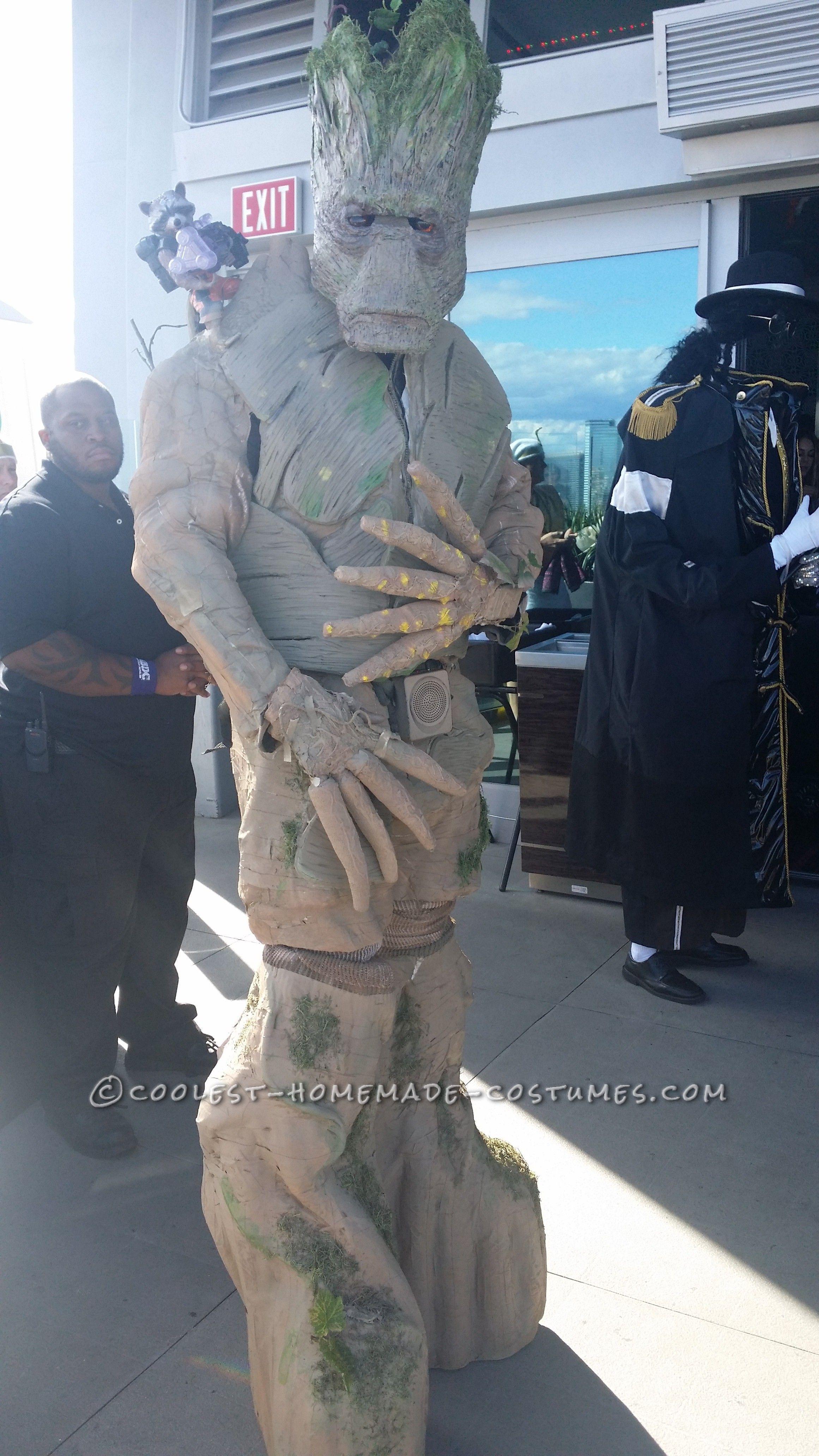 Amazing 8u2032 Tall Homemade Groot Costume... Coolest Halloween Costume Contest & Amazing 8u0027 Tall Homemade Groot Costume | Pinterest | Halloween ...