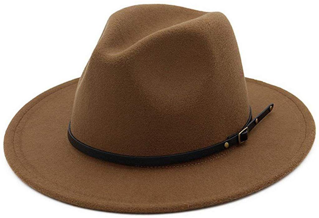 952777981e44b Dark Carmel or Black Women Belt Buckle Fedora Hat at Amazon Women s  Clothing store