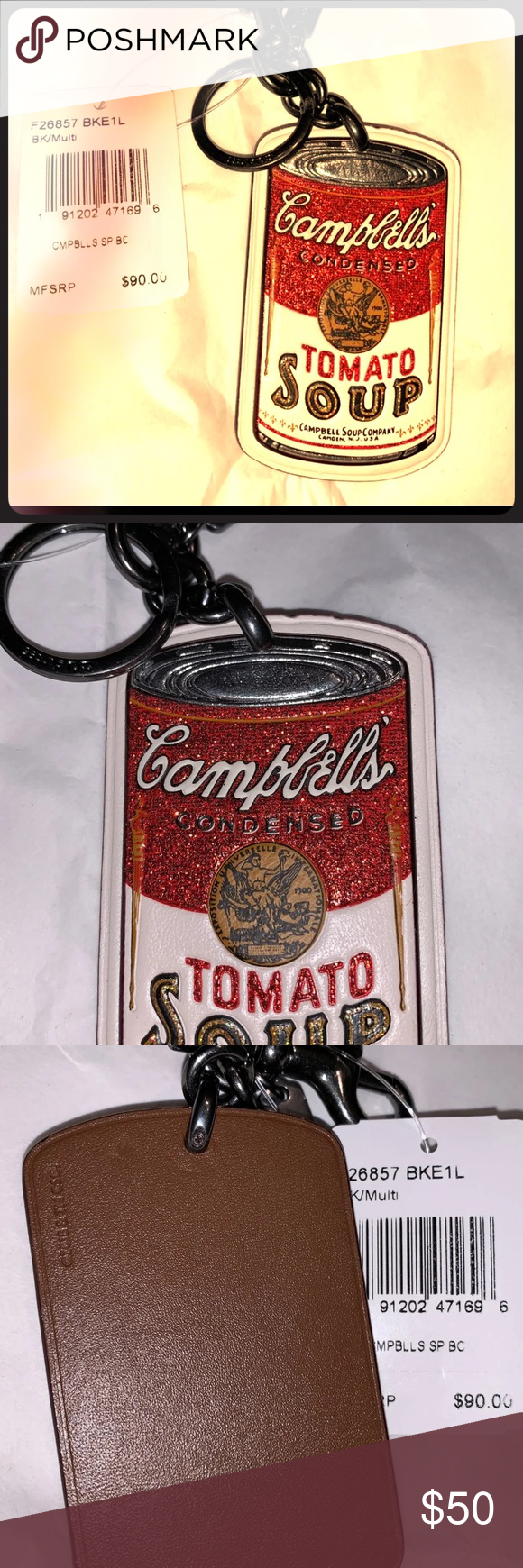 Coach Campbell S Soup Keychain Bag Charm Coach Campbell S Soup Keychain New With Tags Reminiscent Of The Art Of Andy Warhol Key Card Holder Bag Charm Campbell