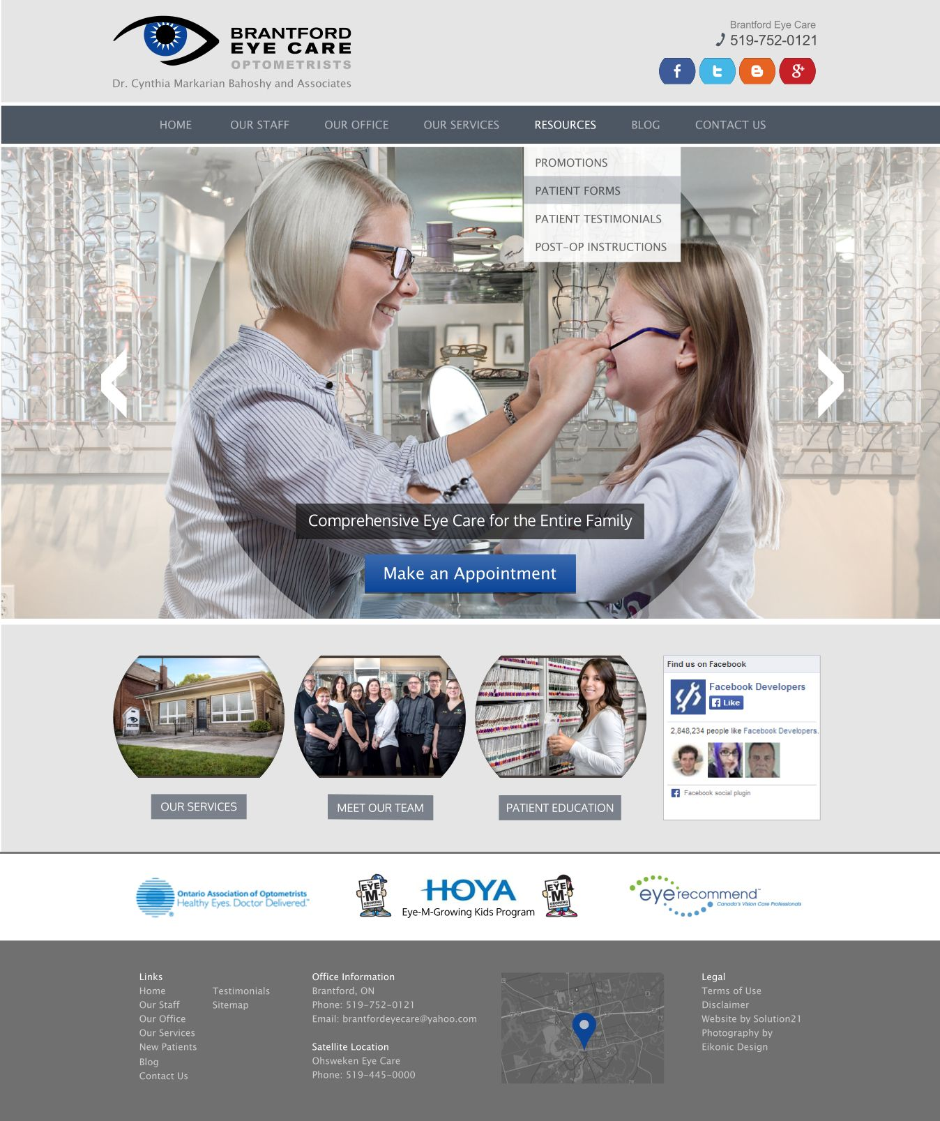 What A Great Optometry Team And Website With Exciting Layout And Photos Brantford Optometry Located In Ont Medical Website Design Patient Education Eye Care