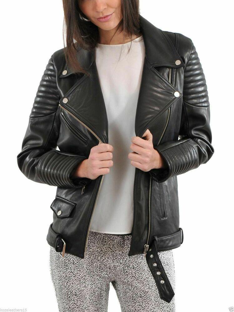 New women's Genuine Lambskin Leather Black Slim fit Biker