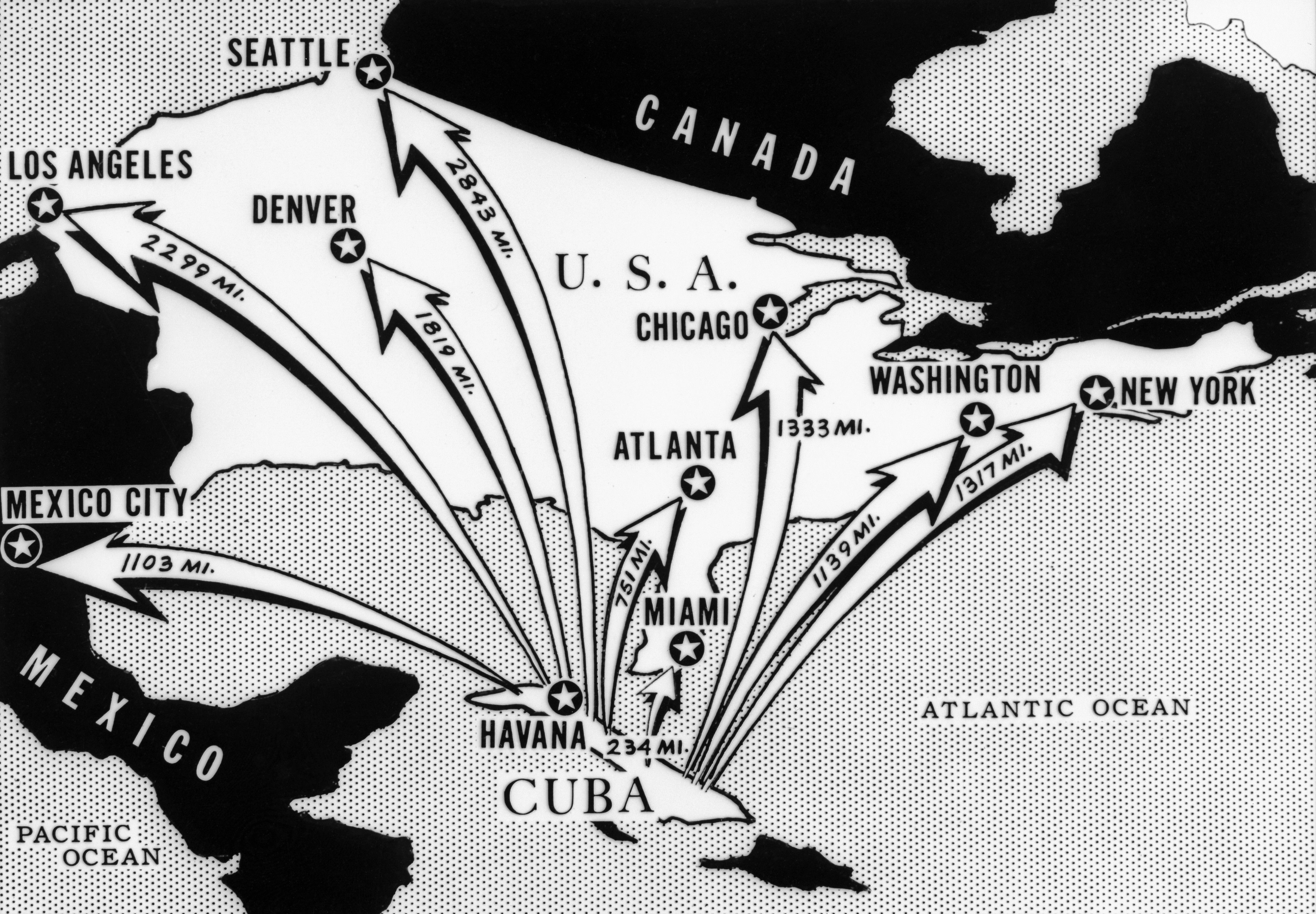 In October Americans Were Terrified Over Soviet Missiles In Cuba As This Newspaper Map Showing Distances Between Cuba And Major North American Cities