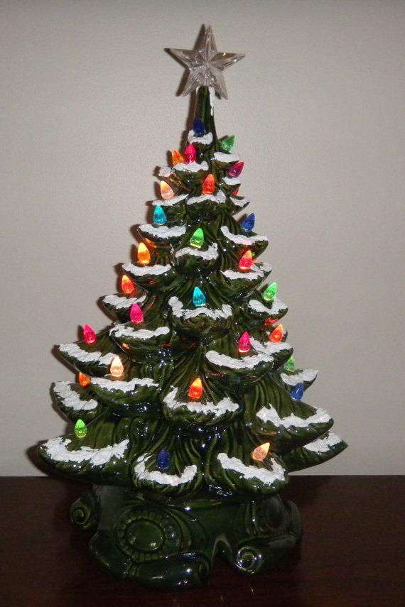 Vintage Light Up Ceramic Christmas Tree Grandma Lorraine Put One Of These In Ca Vintage Ceramic Christmas Tree Holiday Crafts Halloween Holiday Christmas Tree