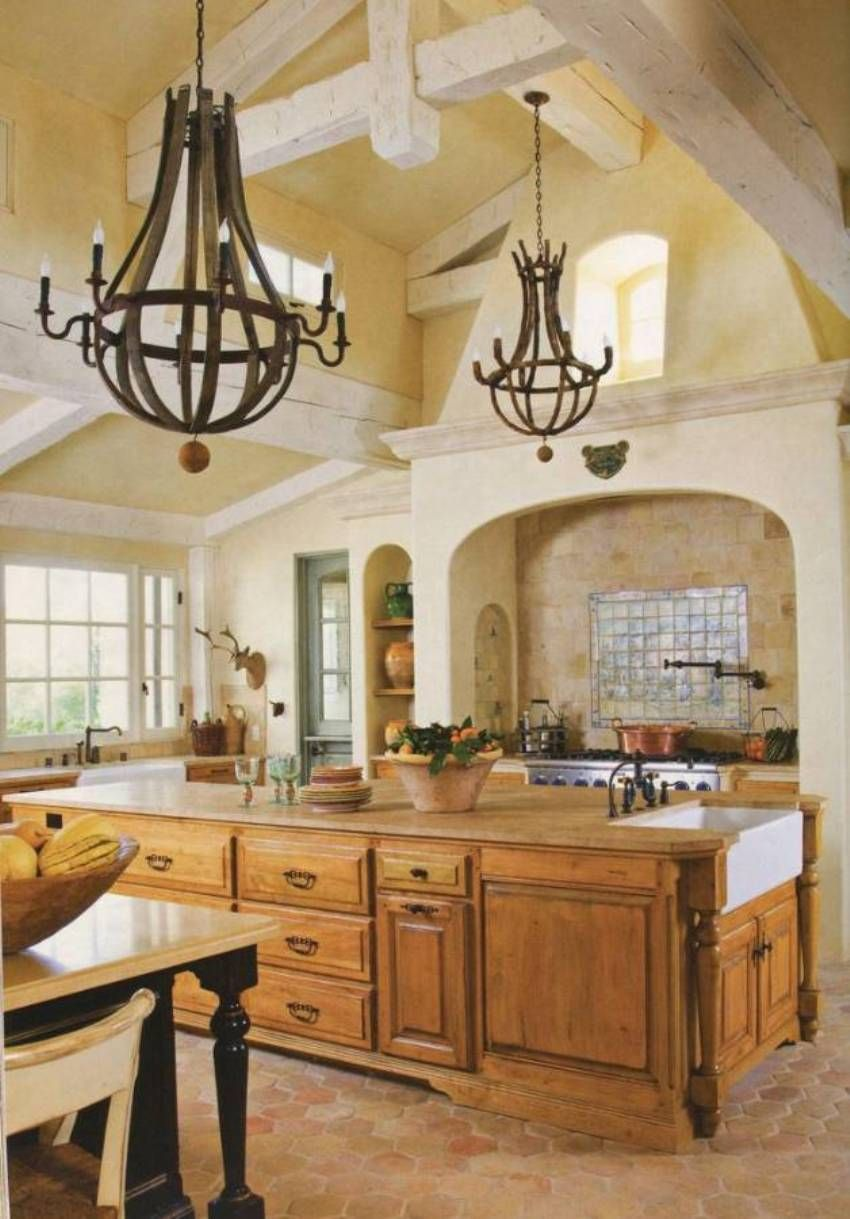 Best Kitchen Gallery: Tuscan Kitchen With Exposed Beam Ceiling And Rustic Chandeliers Over of Tuscan Style Kitchen Hoods on rachelxblog.com