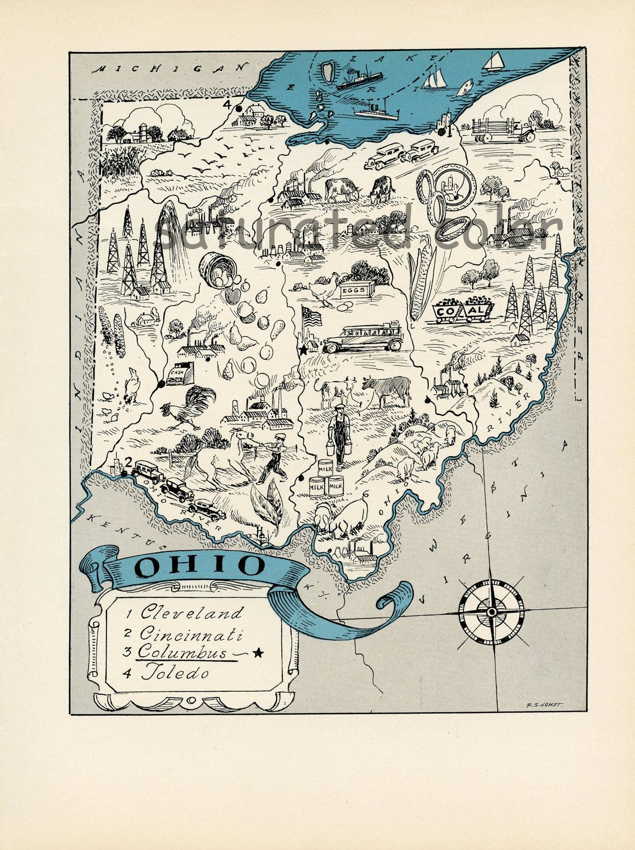 Ohio Antique Vintage Pictorial Map