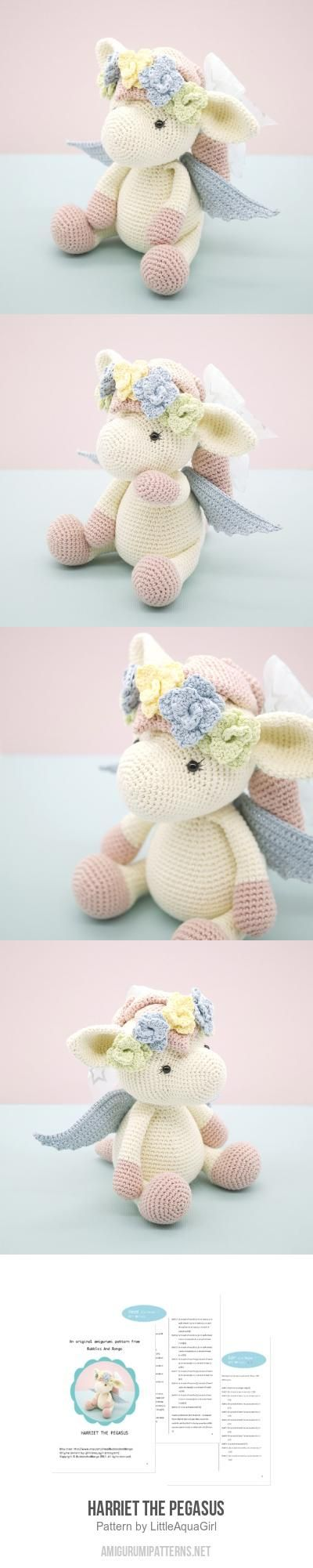 Harriet the Pegasus amigurumi pattern by LittleAquaGirl | Tejido ...